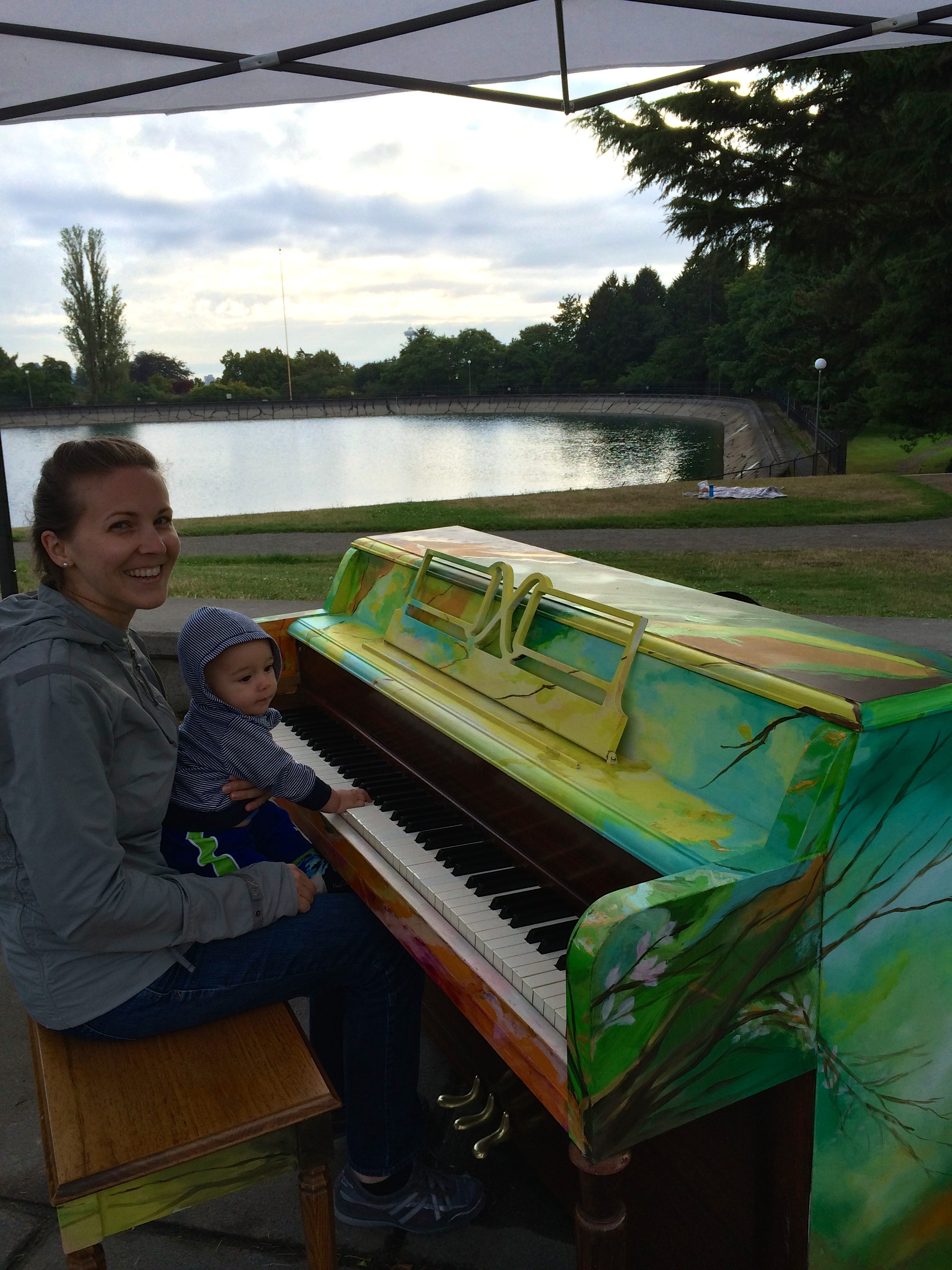Trying out a painted piano at Volunteer Park with the babe